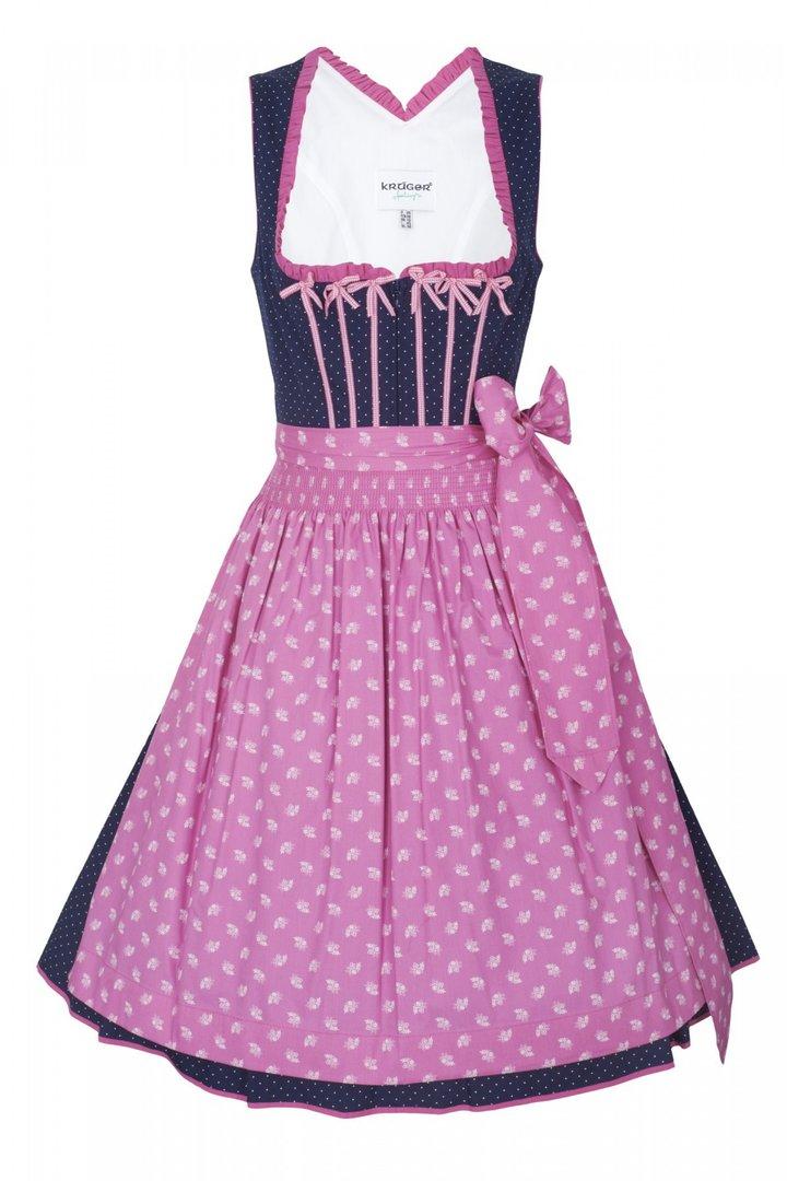 kr ger feelings midi dirndl blau mit rosa sch rze. Black Bedroom Furniture Sets. Home Design Ideas